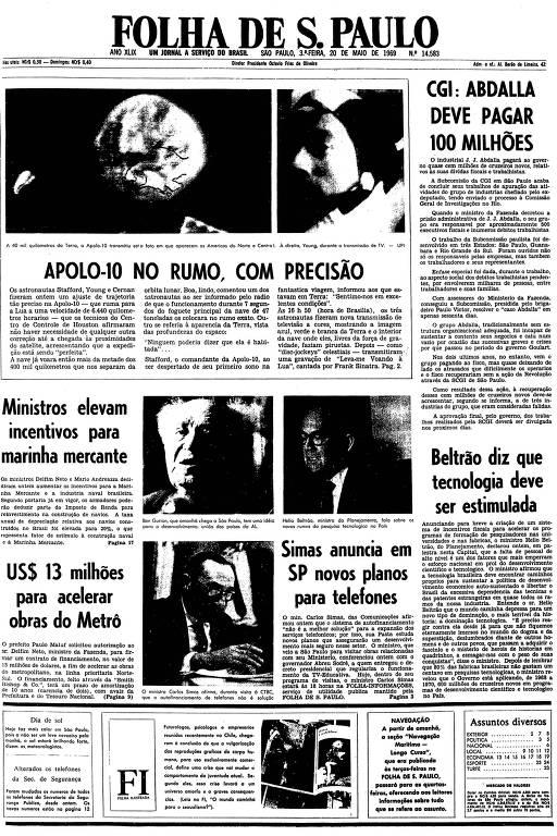 Primeira página da Folha de S.Paulo de 20 de maio de 1969