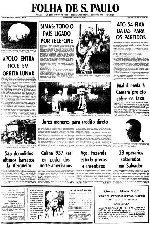 Primeira página da Folha de S.Paulo de 21 de maio de 1969