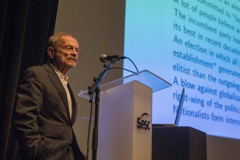 O cientista político polonês Adam Przeworski, durante seminário que celebra os 50 anos do Cebrap