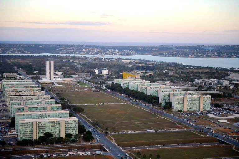 Vista aérea da Esplanada dos Ministérios em Brasília