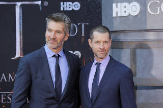 David Benioff and D.B. Weiss arrive for the premiere of the final season of