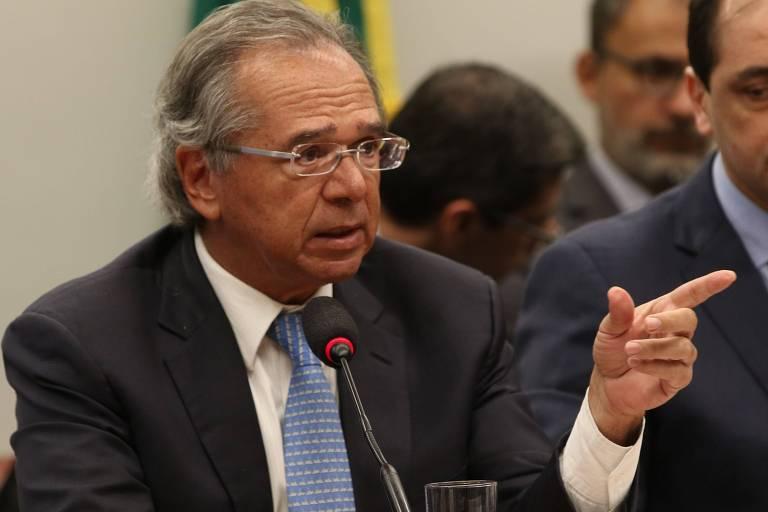 Ministro da Economia, Paulo Guedes, durante audiência pública na Comissão Mista de Orçamento