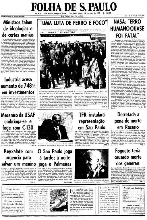 Primeira página da Folha de S.Paulo de 24 de maio de 1969