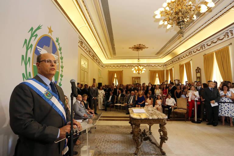 Wilson Witzel em cerimônia de transmissão de cargo, no Palácio Guanabara