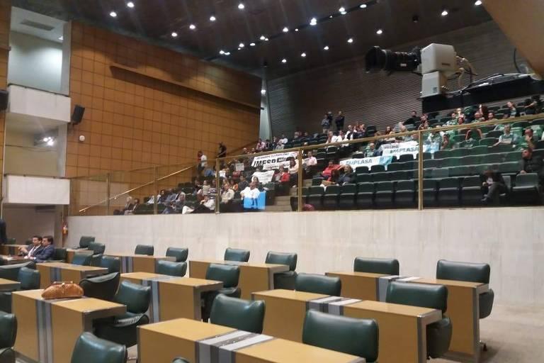 Auditório da Alesp durante votação de projeto que extingue três estatais e funde outras duas, aprovado pelos parlamentares