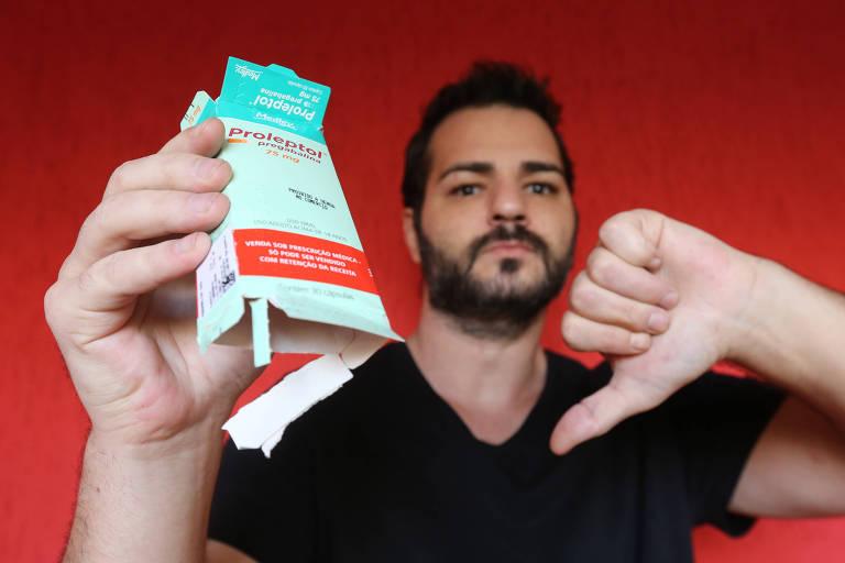 Tiago Pimentel conta que cada caixa do medicamento pregabalina 75 mg, com 30 comprimidos, chega a custar, em média, R$ 100 nas farmácias; ele precisa tomar quatro cápsulas todos os dias