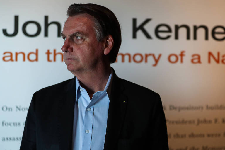 O presidente Jair Bolsonaro durante visita ao museu The Sixth Floor, sobre o assassinato do ex-presidente americano John F. Kennedy