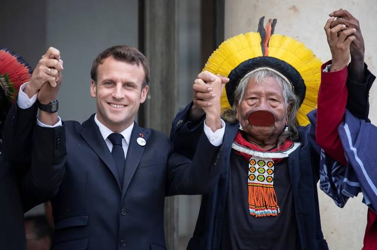 Raoni e Macron na França