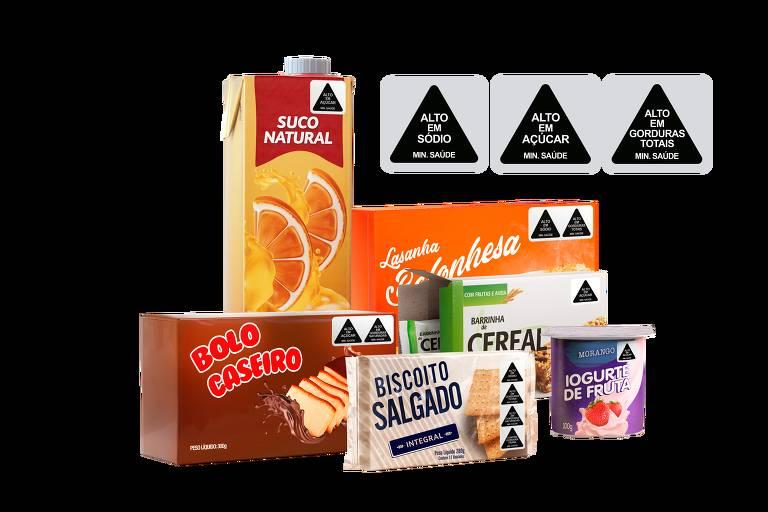 Rótulos aplicados em produtos seguindo modelo chileno proposto pelo Idec