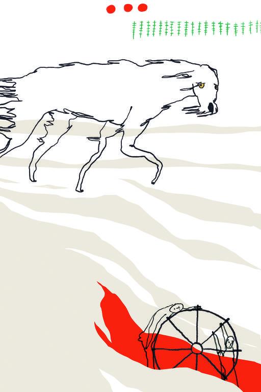 lobo sob neve e pessoas presas a roda