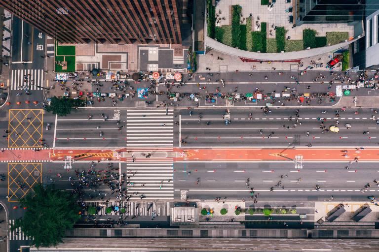 Foto aérea feita com drone da avenida Paulista