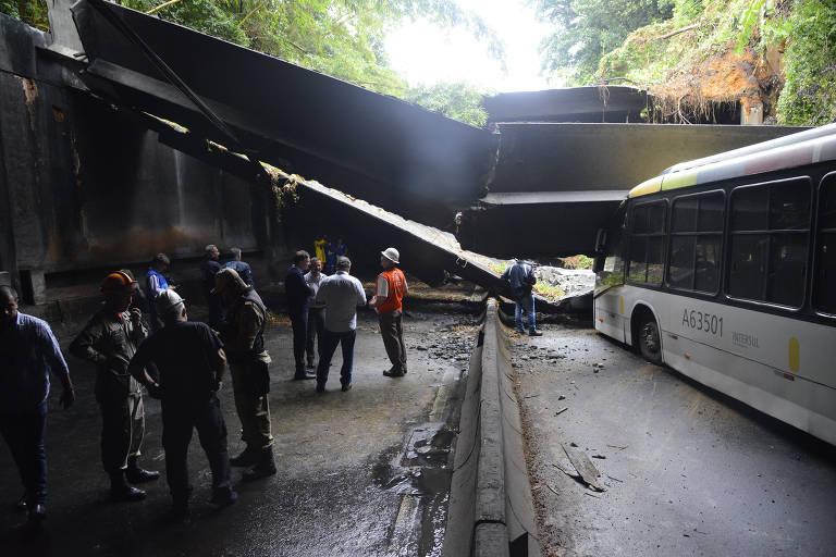 Túnel desaba no Rio de Janeiro