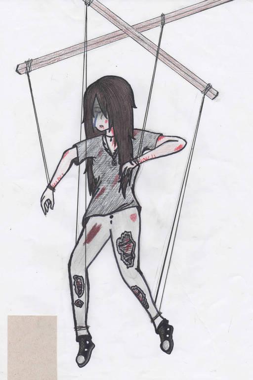 Desenho feito por Zoe (nome fictício), 14, que sofreu estupro virtual aos 11