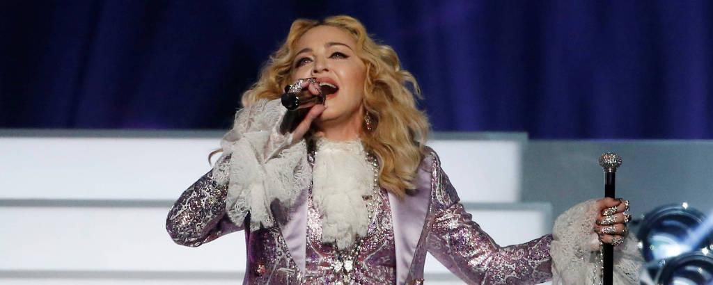 Madonna durante show em Las Vegas