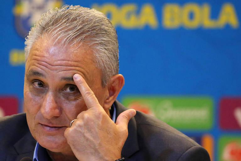 Tite dá entrevista após anunciar a convocação da seleção brasileira para a Copa América