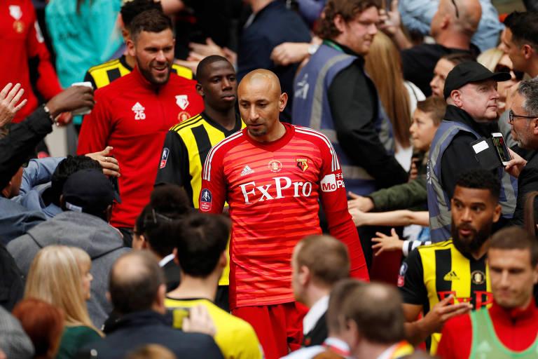 O goleiro brasileiro Gomes, do Watford, após derrota para o Manchester City