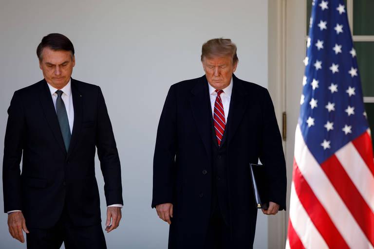 Bolsonaro em encontro com Trump em Washington durante sua visita em março