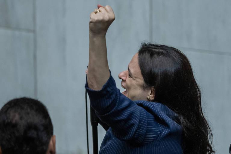 A deputada Janaina Paschoal durante posse dos deputados da Alesp, em SP