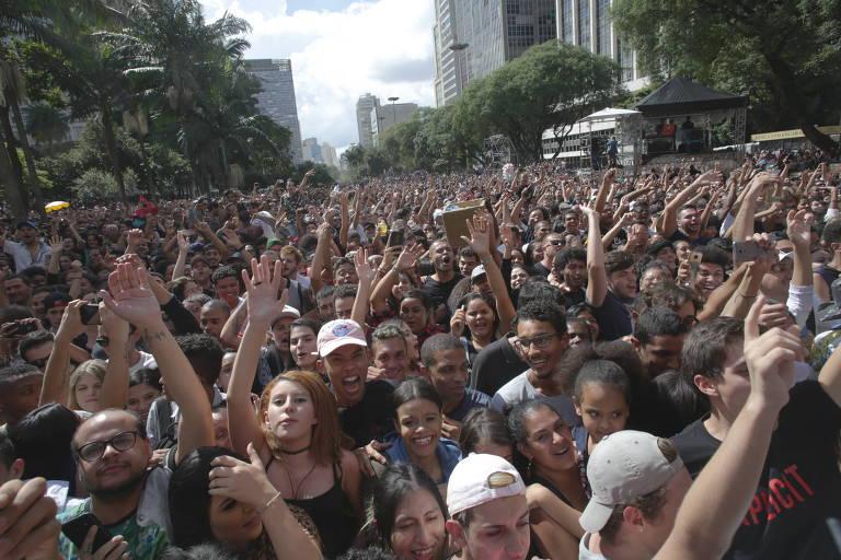 Show da cantora Anitta no Anhangabaú, no centro, durante a Virada Cultural