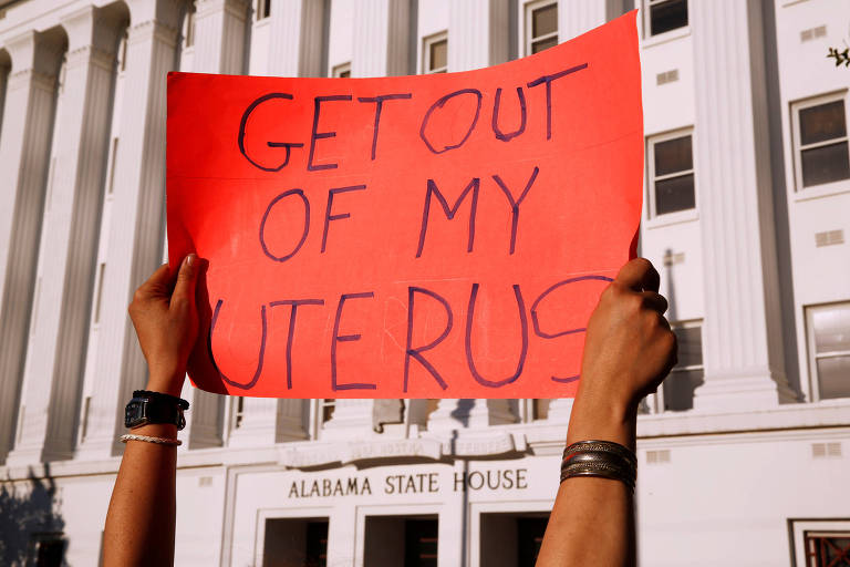 Protesto contra lei do aborto no Alabama em 2019