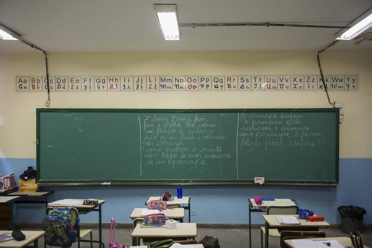 Sala de escola na zona leste de São Paulo