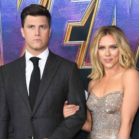 "US actress Scarlett Johansson and US actor Colin Jost arrive for the World premiere of Marvel Studios' ""Avengers: Endgame"" at the Los Angeles Convention Center on April 22, 2019 in Los Angeles. (Photo by VALERIE MACON / AFP)"