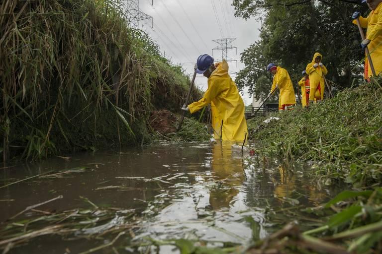 Funcionários em processo de limpeza de córrego na zona norte de SP
