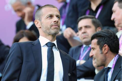 UEFA President Aleksander Ceferin attends the UEFA Women's Champions League final football match Lyon v Barcelona in Budapest on May 18, 2019. (Photo by FERENC ISZA / AFP)