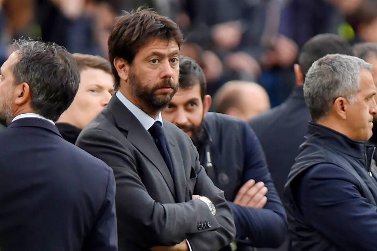 O presidente da Juventus, Andrea Agnelli, durante partida contra Milan