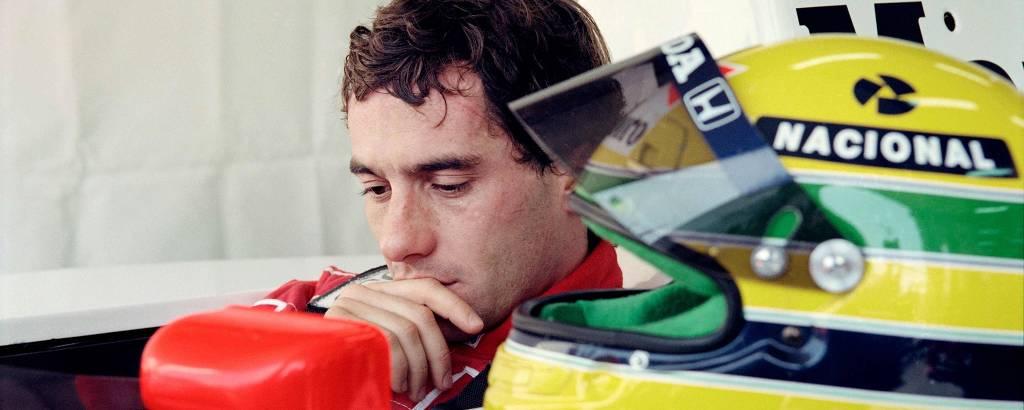 Ayrton Senna em 1991, durante o Grande Prêmio da França