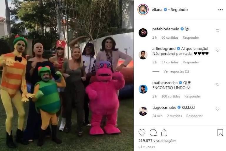 Encontro entre Xuxa, Eliana e demais personagens que marcaram a infância