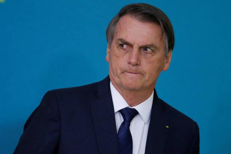 O presidente Jair Bolsonaro (PSL) durante evento de apresentação de campanha pela reforma da Previdência, no em Brasília