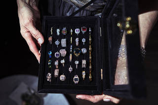The box of rings that Paul Luykx used to propose to Tanya Pushkine throughout their relationship, at Brooklyn Winery in New York.