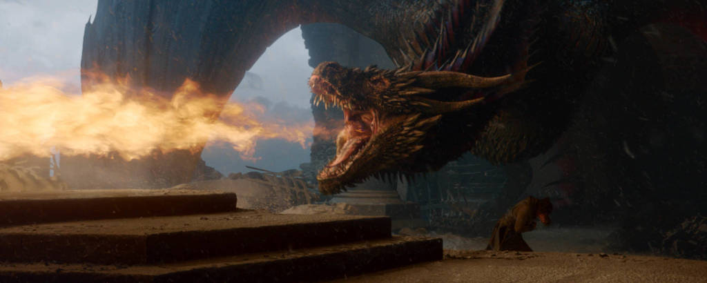 Drogon cospe fogo no último episódio de 'Game of Thrones'