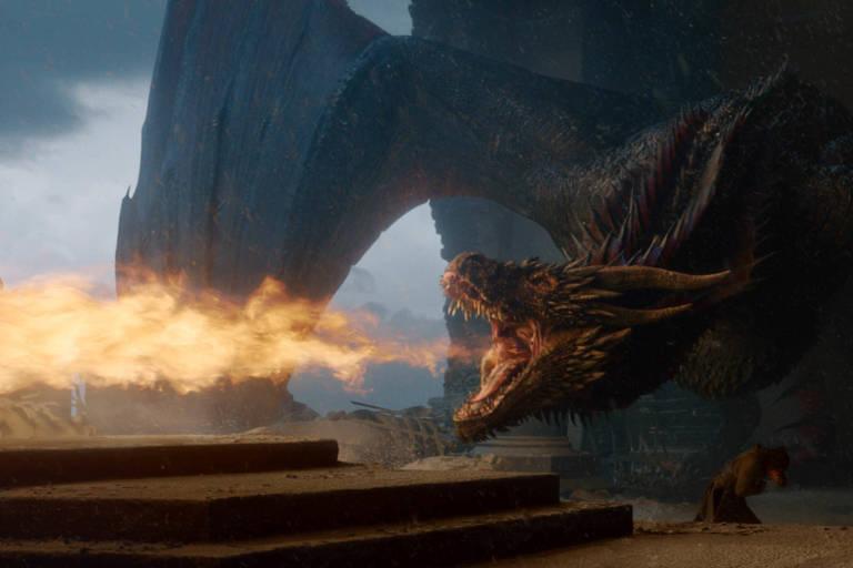 Drogon cospe fogo no último episódio de 'Game of Thrones'