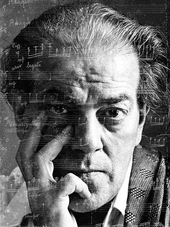 Sobreposição de nova partitura da 'Ária' das 'Bachianas nº 5' sobre o rosto de Villa-Lobos
