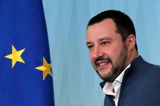 FILE PHOTO: Italy's Interior Minister Matteo Salvini arrives to attend a news conference regarding the return of former leftist guerrilla Cesare Battisti, in Rome
