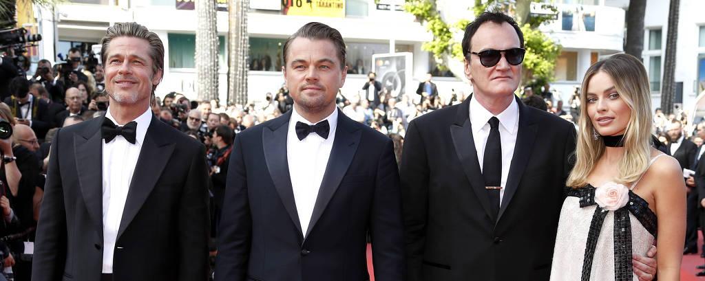 Brad Pitt, Leonardo DiCaprio, Quentin Tarantino e Margot Robbie
