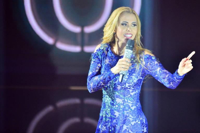 Joelma durante a gravação de seu no DVD, em São Paulo