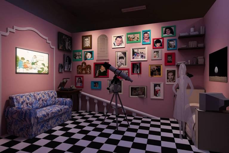 Cenário da sala da família de Lucas Silva e Silva, protagonista da série Mundo da Lua, em exposição na mostra Entra que Lá Vem a História, montada no Shopping Eldorado para celebrar os 50 anos da TV Cultura