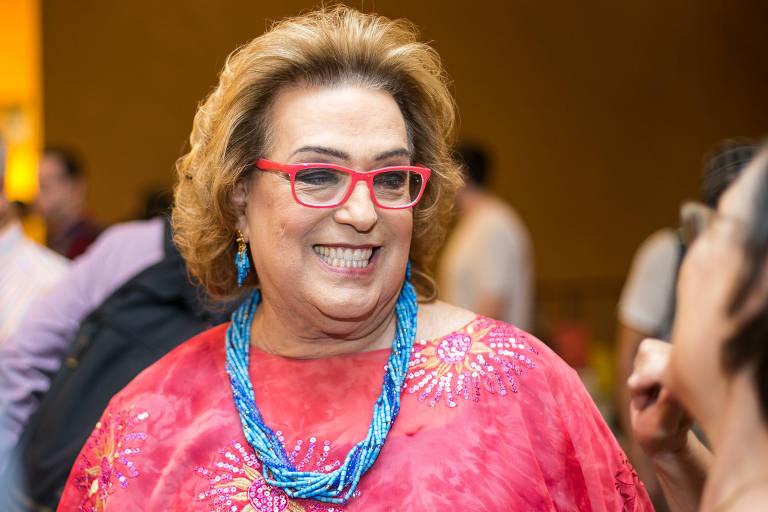 A apresentadora Mamma Bruschetta durante evento em São Paulo