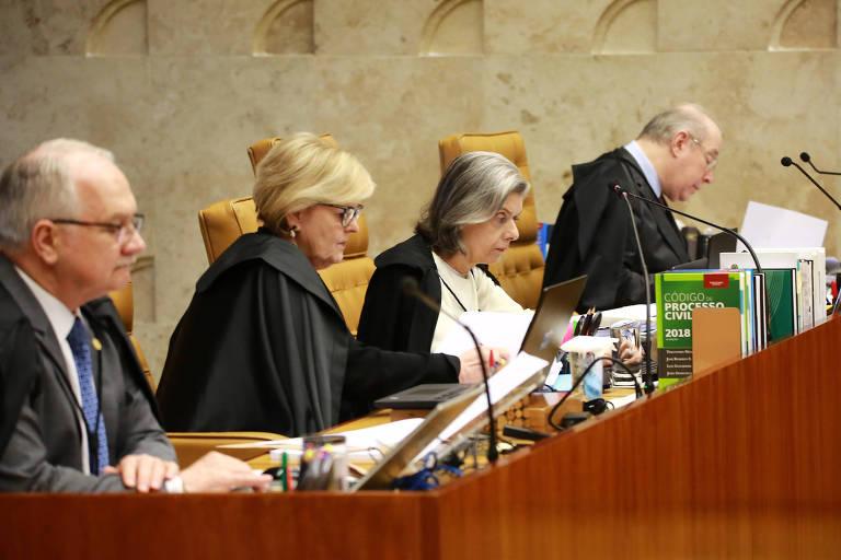 Ministros Edson Fachin, Rosa Weber, Cármen Lúcia e Celso de Mello durante julgamento sobre criminalização da homofobia no plenário do Supremo Tribunal Federal (STF), em Brasília (DF)