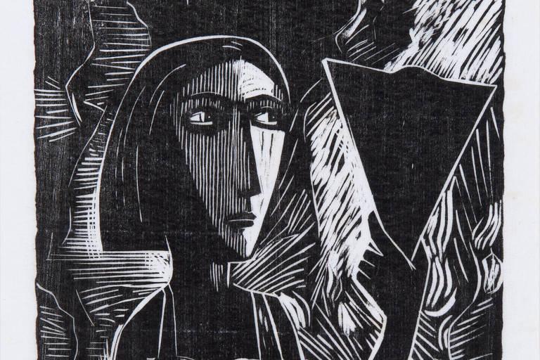 'A Mulher com Espelho', xilogravura de Samico de 1959, exibida em 'Samico', na Galeria Estação