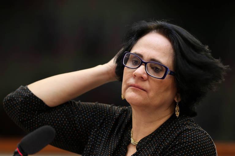 A ministra Damares Alves (Ministério da Mulher, Família e Direitos Humanos), durante audiência pública na Comissão de Direitos Humanos da Câmara
