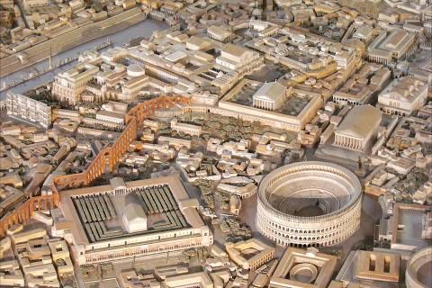 Maquete 'Plastico di Roma Imperiale' reconstrói a paisagem de Roma no século 4 d.C.