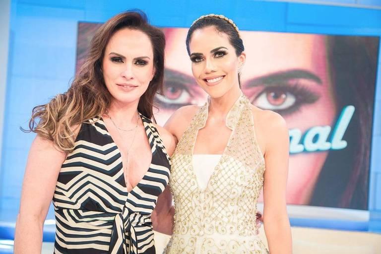 A modelo Núbia Oliiver com a apresentadora do Sensacional, Daniela Albuquerque