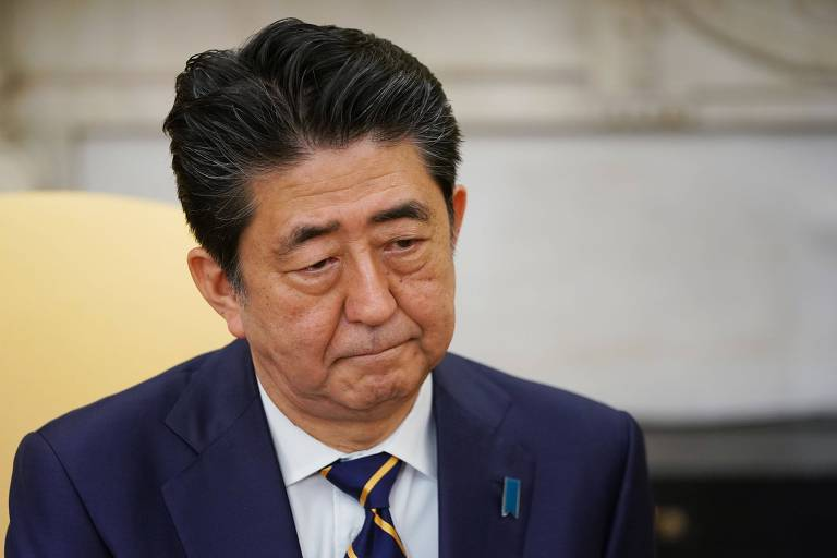 O primeiro-ministro do Japão, Shinzo Abe, durante encontro com Donald Trump em Washington