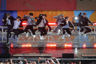 Members of K-Pop band BTS perform on ABC's 'Good Morning America' show in Central Park in New York