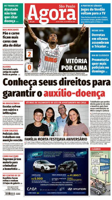 Reprodução da primeira página do Agora São Paulo do dia 24 de maio de 2019