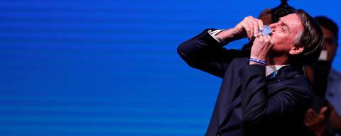 Brazil's President Jair Bolsonaro gestures during the event
